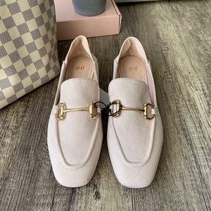 Pale Pink Suede Loafers with Gold Hardware